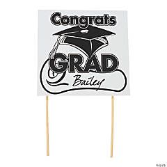"White ""Congrats Grad"" Yard Signs"