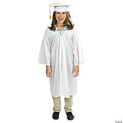 White Elementary Graduation Cap & Gown Set
