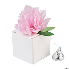 White Favor Boxes with Pink Tissue Flower