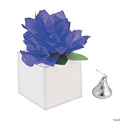 White Favor Boxes with Purple Tissue Flower