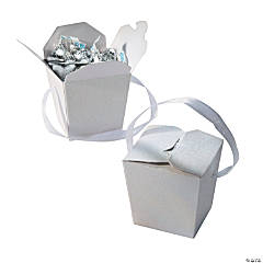 White Glitter Take Out Boxes