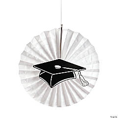 White Graduation Hanging Fans with Icons