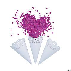 White Lace Doily Confetti Cones