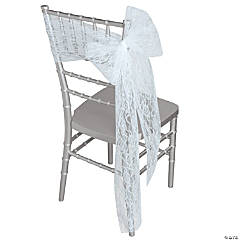 White Lace Ribbon Chair Cover