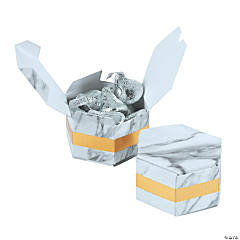 White Marble Hexagon Favor Boxes