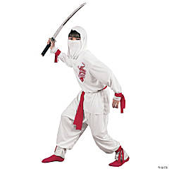 White Ninja Deluxe Costume For Boys
