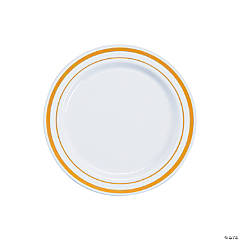 White Premium Plastic Dessert Plates with Gold Edging