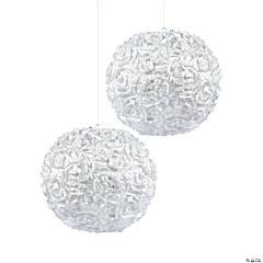 White Rosette Hanging Lanterns