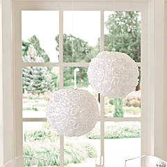 White Rosette Hanging Lanterns