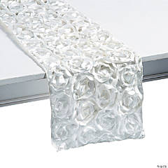 White Rosette Table Runner