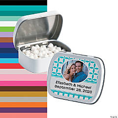 White Wedding Design Custom Photo Mint Tins