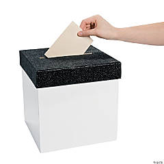 White with Black Glitter Lid Card Box