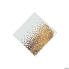 White with Gold Foil Dots Beverage Napkins