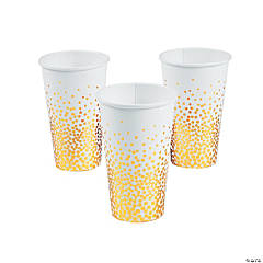 White with Gold Foil Dots Paper Cups