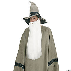 White Wizard Beard with Mustache