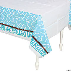 Wild Safari Blue Baby Shower Table Cover