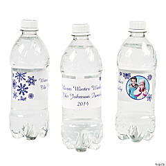 Winter Custom Photo Water Bottle Labels