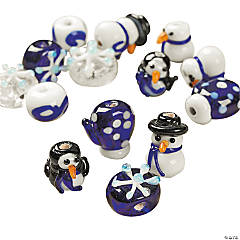 Winter Lampwork Beads - 3mm-12mm