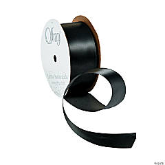 Wired Black Satin Ribbon - 1 1/2