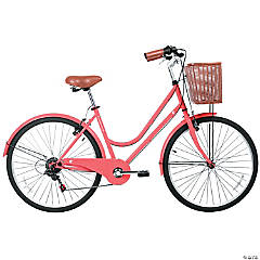 Women's 6-Speed Urban Hybrid Commuter Bicycle: Coral