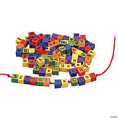 Wonderful Wood Alphabet Lacing Beads Set
