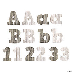 Wood Grain Bulletin Board Letters & Numbers
