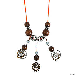 Wooden Beads & Metal Gear Necklace Idea