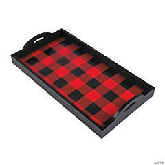 Wooden Buffalo Plaid Serving Tray