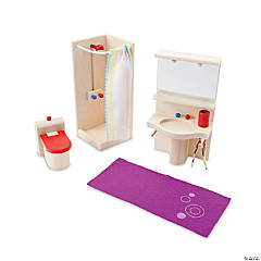 Wooden Dollhouse Bathroom Furniture Set