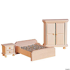 Wooden Dollhouse Bedroom Furniture Set