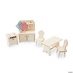 Wooden Dollhouse Kitchen Furniture Set