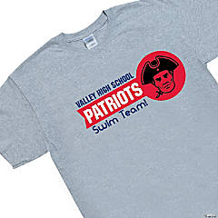 XL Grey Custom Photo Team Spirit T-Shirt - Red Flag