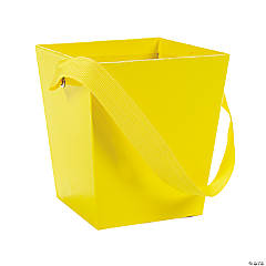 Yellow Candy Buckets with Ribbon Handle
