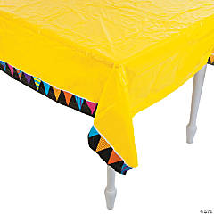 Yellow Chalkboard Birthday Plastic Tablecloth