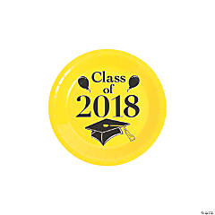 Yellow Class of 2018 Grad Party Dessert Paper Plates