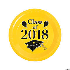 Yellow Class of 2018 Grad Party Dinner Paper Plates