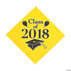 Yellow Class of 2018 Grad Party Luncheon Napkins