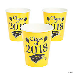 Yellow Class of 2018 Grad Party Paper Cups