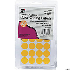Yellow Color Coding Labels, Pack of 1000, Set of 12 Packs