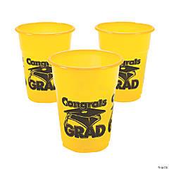 """Yellow """"Congrats Grad"""" Plastic Cups"""
