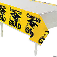 Yellow Congrats Grad Plastic Tablecloth