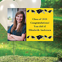 Yellow Graduation Custom Photo Yard Sign