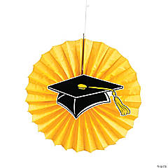 Yellow Graduation Hanging Fans with Icons