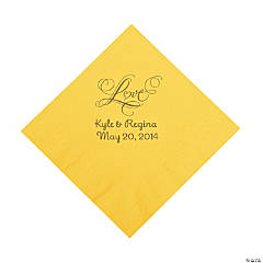Yellow Love Personalized Napkins with Gold Foil - Luncheon