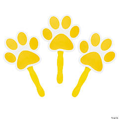 Yellow Paw-Shaped Hand Fans