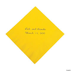 Yellow Personalized Beverage Napkins with Gold Print