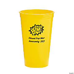 Yellow Personalized Superhero Plastic Tumblers