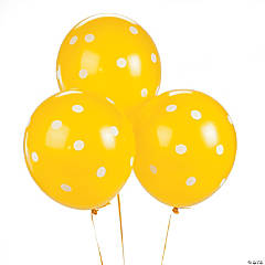 "Yellow Polka Dot 11"" Latex Balloons"