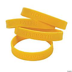 Yellow Ribbon Awareness Sayings Rubber Bracelets