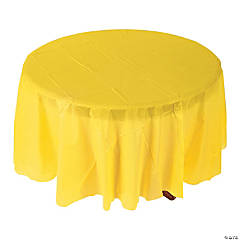 Yellow Round Plastic Tablecloth